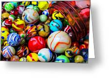 Red Jar Spilling Marbles Greeting Card