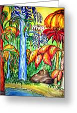 Red Jungle. Alien Planet Greeting Card