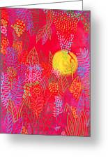 Red Jungle Passionate Sun Greeting Card