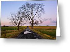 Red Lane With Purple Sky Greeting Card