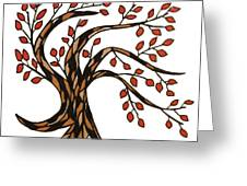 Red-leafed Tree Greeting Card