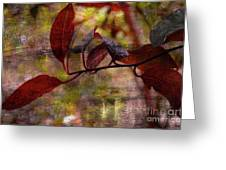 Red Leaves Painted Effect Greeting Card