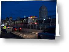 Red Line Train Rumbling Over The Longfellow Bridge In Boston Ma Greeting Card