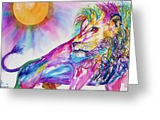 Red Lion Greeting Card by Larry  Johnson