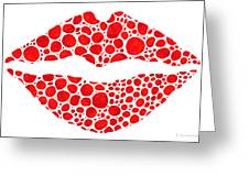 Red Lips Art - Big Kiss - Sharon Cummings Greeting Card