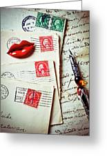 Red Lips Pin And Old Letters Greeting Card