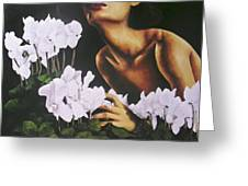 Red Lips White Flowers Greeting Card