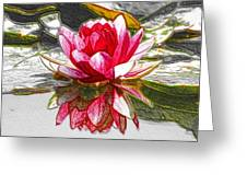 Red Lotus Flower Greeting Card