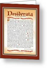 Red Matted Floral Scroll Desiderata Poem Greeting Card