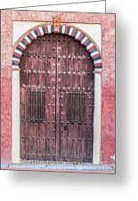 Red Medieval Wood Door Greeting Card