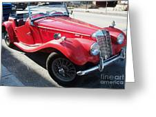 Red Mg Antique Car Greeting Card