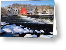 Red Mill In Winter Landscape Greeting Card