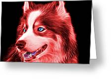 Red Modern Siberian Husky Dog Art - 6024 - Bb Greeting Card