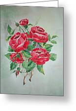 Red Morning Roses Greeting Card
