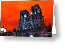 Red Notre Dame Pop Art Greeting Card
