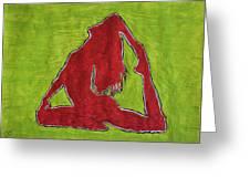 Red Nude Yoga Girl Greeting Card