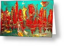 Red Nyc Greeting Card