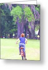 Red On Her Bike Greeting Card