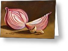 Red Onion Still Life Greeting Card