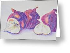 Red Onions And Garlic Greeting Card