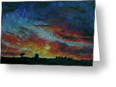 Red Orange Evening Greeting Card