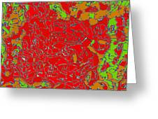 Red Orange Green Abstract Painting Greeting Card