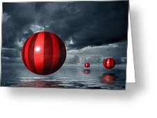 Red Orbs Greeting Card