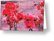 Red Orchids On Linen Zen Greeting Card