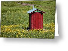 Red Outhouse 3 Greeting Card