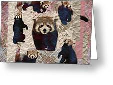 Red Panda Abstract Mixed Media Digital Art Collage Greeting Card