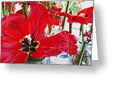 Red Party Flowers IIi Greeting Card