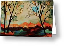 Red Tree Path Greeting Card