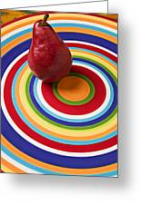 Red Pear On Circle Plate Greeting Card