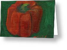 Red Pepper On Linen Greeting Card