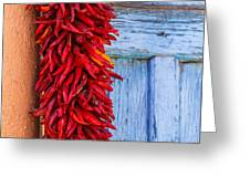 Red Peppers And Blue Door Greeting Card