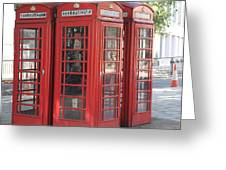 Red Phone Boxes. Greeting Card