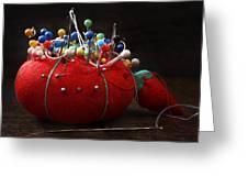 Red Pin Cushion Greeting Card