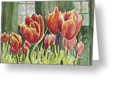 Red Pink Tulips Greeting Card