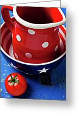 Red Pitcher And Tomato Greeting Card