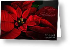 Red Poinsettia Happy Holidays Card Greeting Card