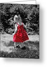 Red Polka Dot Dress And Mommy's Shoes Greeting Card