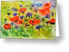 Red Poppies And Cornflowers Greeting Card