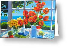 Red Poppies And Green Apples Greeting Card