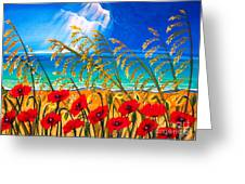 Red Poppies And Sea Oats By The Sea Greeting Card