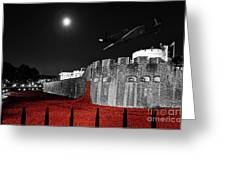 Red Poppies At Tower Of London With Spitfire Flypast Greeting Card