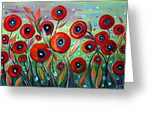 Red Poppies In Grass Greeting Card