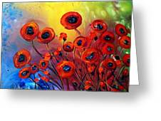 Red Poppies In Rain Greeting Card