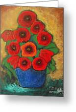 Red Poppies In Blue Vase Greeting Card