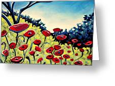 Red Poppies Under A Blue Sky Greeting Card