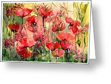Red Poppies Wearing Pink Greeting Card